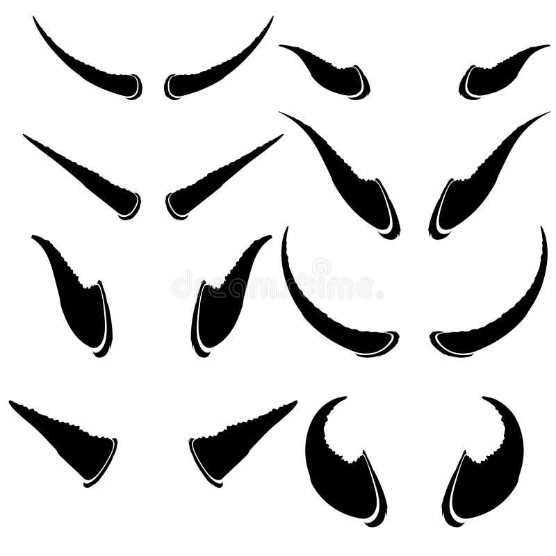 Комплект животных рожков на белой предпосылке иллюстрация штока