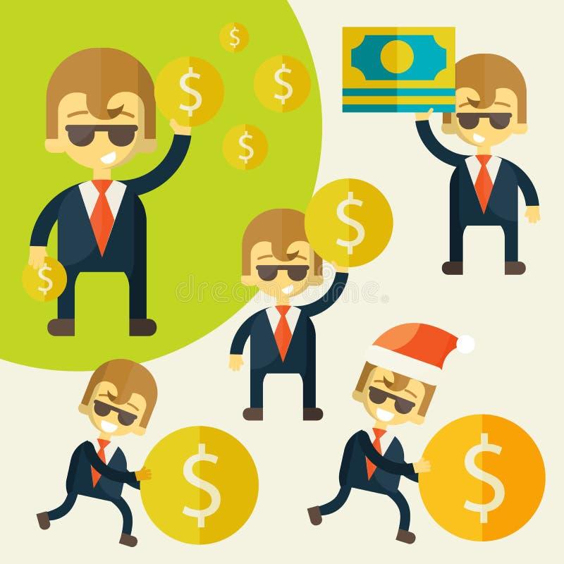 Комплект жизнерадостного бизнесмена с его деньгами иллюстрация штока