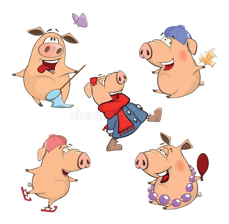 Комплект жизнерадостного шаржа свиней иллюстрация вектора