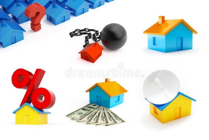 Комплект жилищного строительства Подпишите проценты на арестованной крыше, дому, вопросительный знак на белой предпосылке иллюстрация вектора