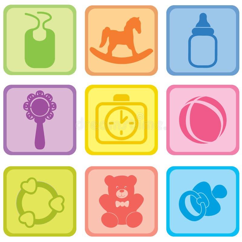 Комплект заботы младенца. Иллюстрация вектора значков младенца. иллюстрация штока