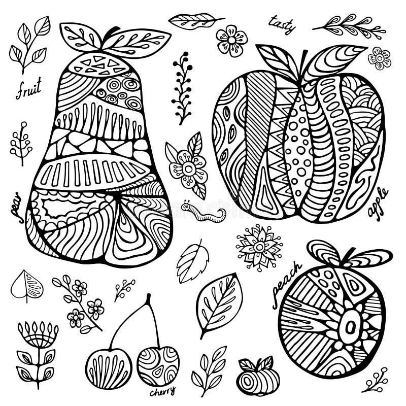 Комплект запаса плодоовощ с вишней, грушей, персиком, яблоком, лист иллюстрация штока