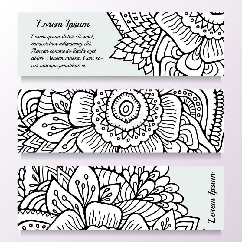 Комплект запаса шаблона с флористическим орнаментом, восточным desig бесплатная иллюстрация