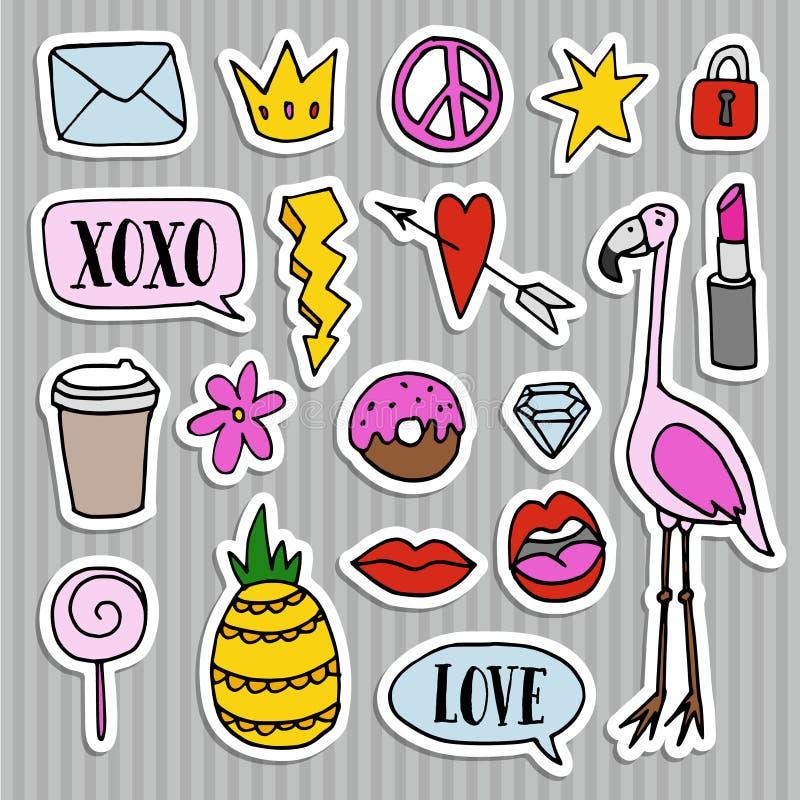 Комплект заплат моды, значков, штырей, стикеров Холодной ультрамодной дизайн нарисованный рукой Изолированные предметы иллюстрация вектора
