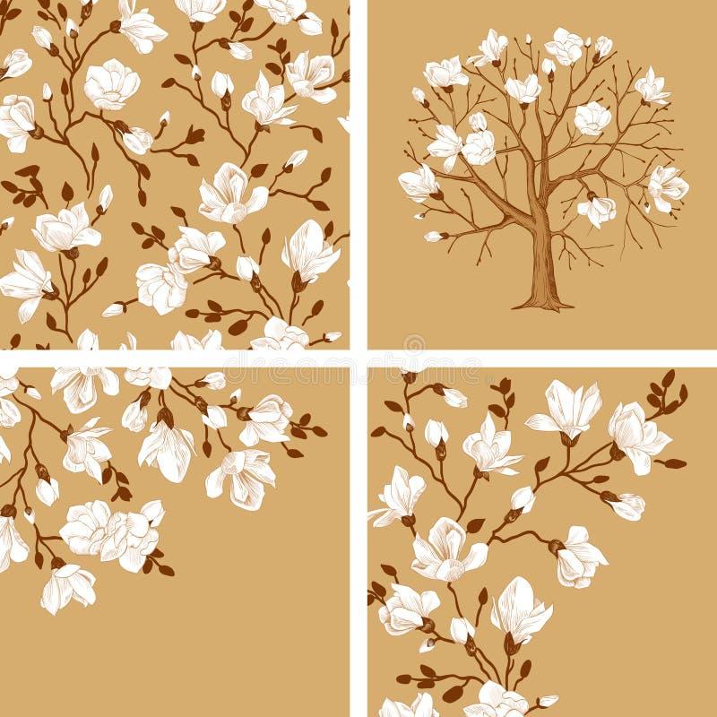 Комплект зацветая magnolia бесплатная иллюстрация
