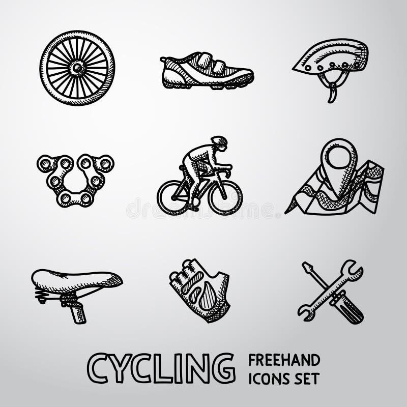 Комплект задействовать freehand значки - катите, обувайте иллюстрация вектора