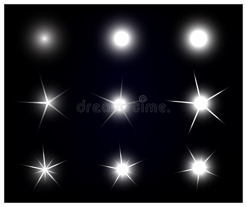 Комплект звезд вектора сверкная и накаляя светового эффекта иллюстрация штока