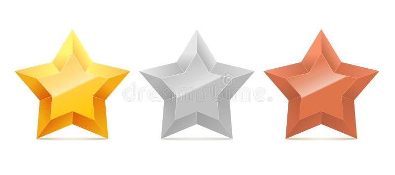 Комплект звезд золота 3D, серебра и бронзы иллюстрация вектора