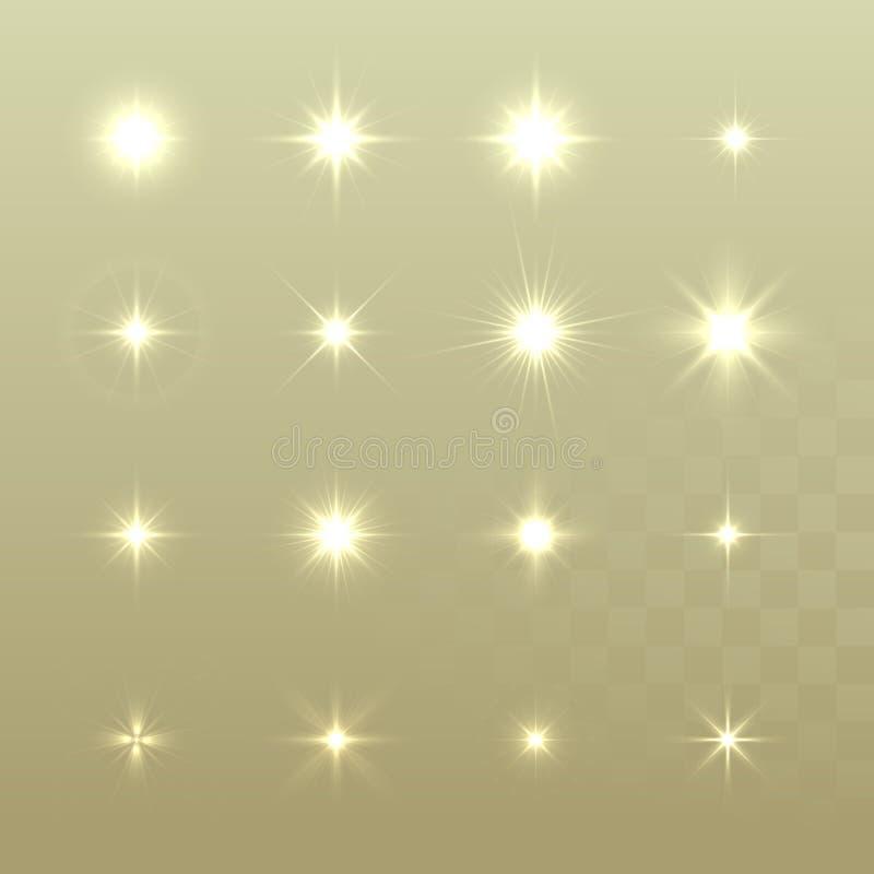 Комплект звезд светового эффекта вектора накаляя разрывает с sparkles бесплатная иллюстрация