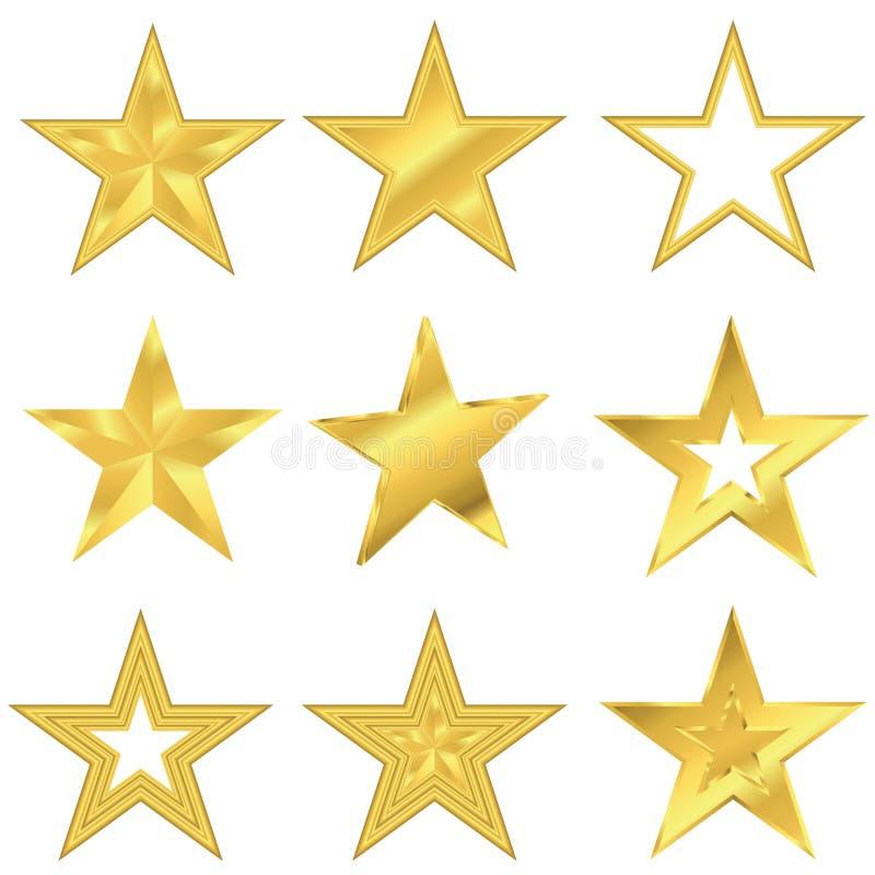 Комплект звезды золота иллюстрация штока