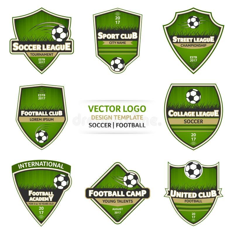 Комплект зеленого логотипа футбола Логотип футбола иллюстрация вектора