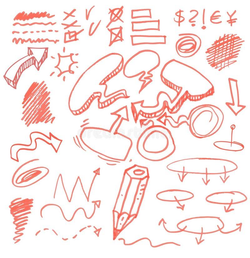Комплект знаков нарисованных рукой графических. иллюстрация вектора