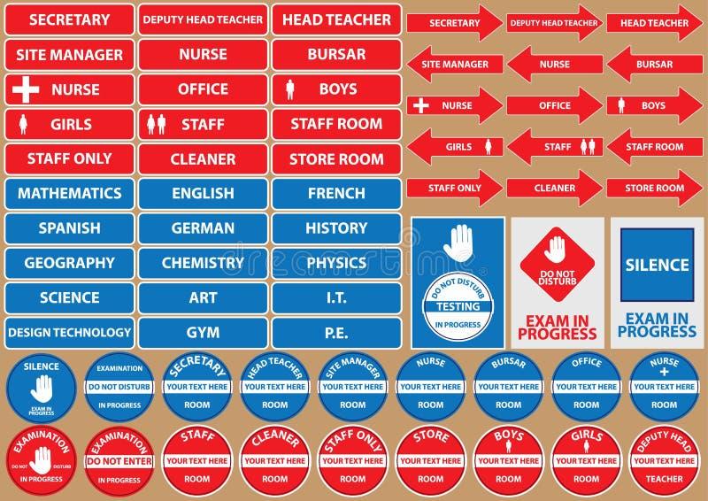 Комплект знаков/символов школьной среды иллюстрация штока