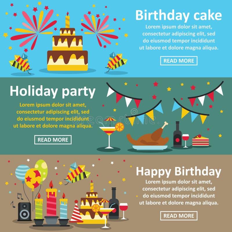 Комплект знамени вечеринки по случаю дня рождения горизонтальный, плоский стиль иллюстрация вектора