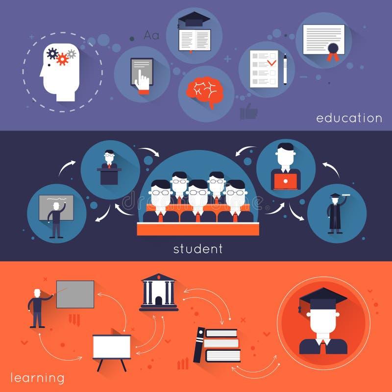 Комплект знамени высшего образования иллюстрация вектора