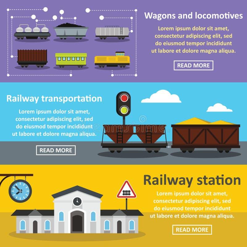Комплект знамени железнодорожного вокзала горизонтальный, плоский стиль иллюстрация штока