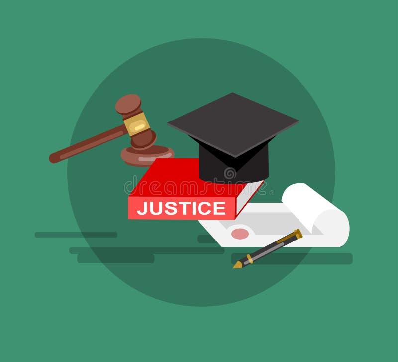Комплект знамени закона горизонтальный при изолированные элементы судебной системы бесплатная иллюстрация