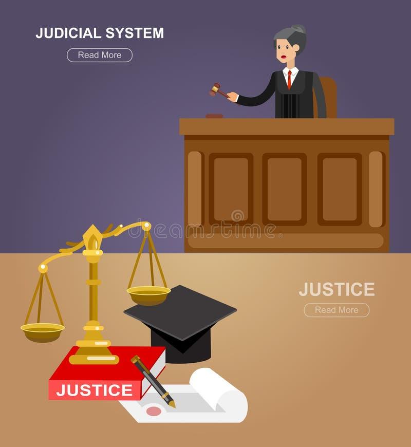 Комплект знамени закона горизонтальный при изолированные элементы судебной системы иллюстрация штока