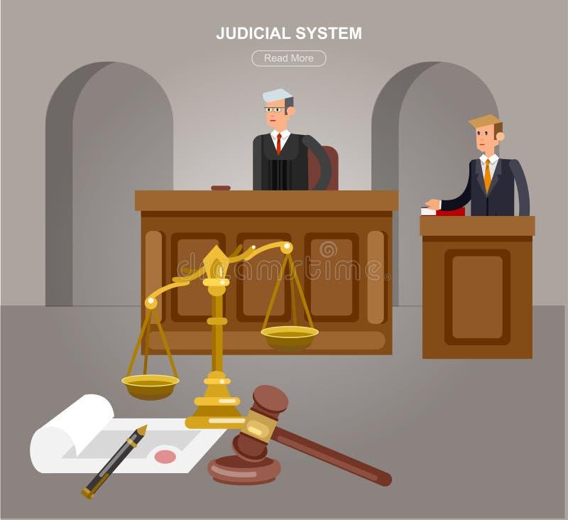 Комплект знамени закона горизонтальный с элементами судебной системы изолировал иллюстрацию вектора иллюстрация штока