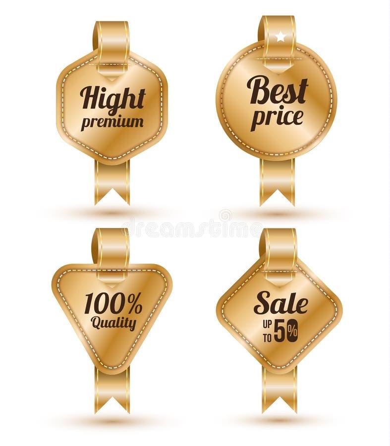 Комплект знамени золота с лентой, бесплатная иллюстрация