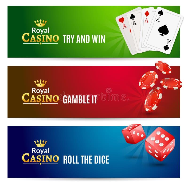 Комплект знамени казино играя в азартные игры Рулетка покера иллюстрация штока