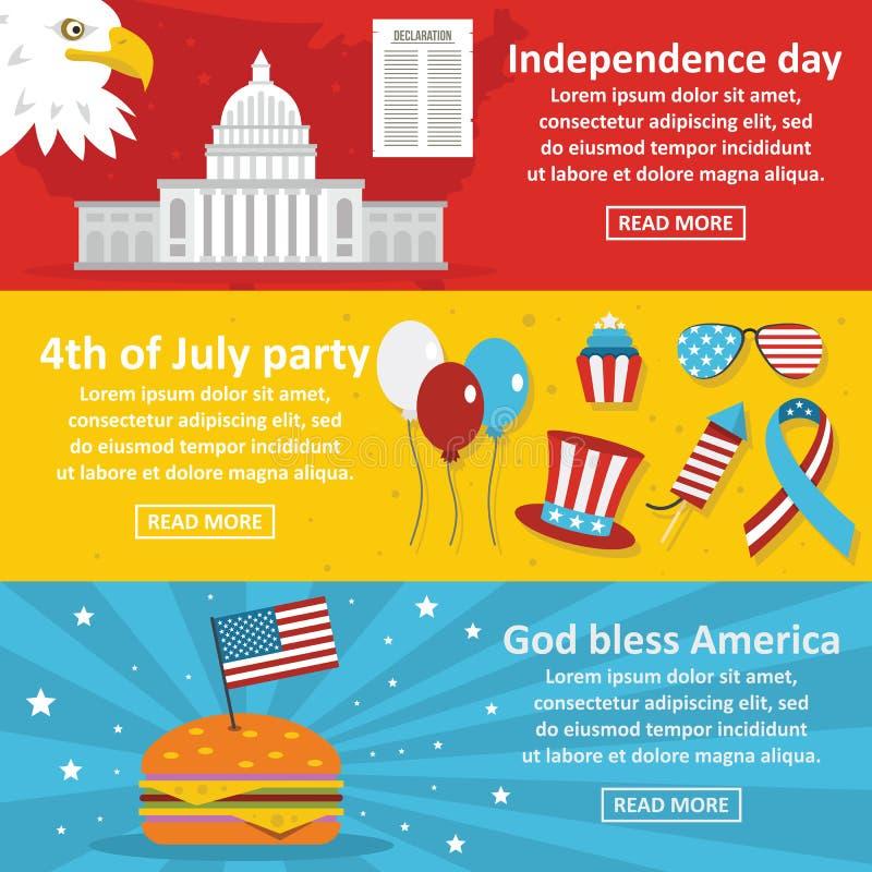 Комплект знамени праздника Америки горизонтальный, плоский стиль иллюстрация вектора