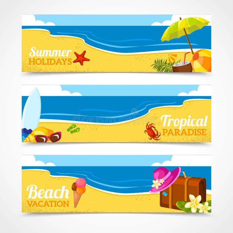 Комплект знамени пляжа лета иллюстрация штока
