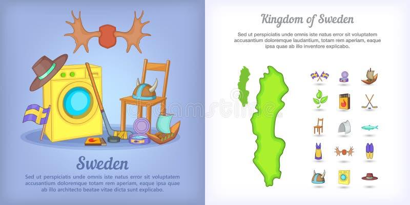 Комплект знамени Швеции, стиль шаржа иллюстрация вектора