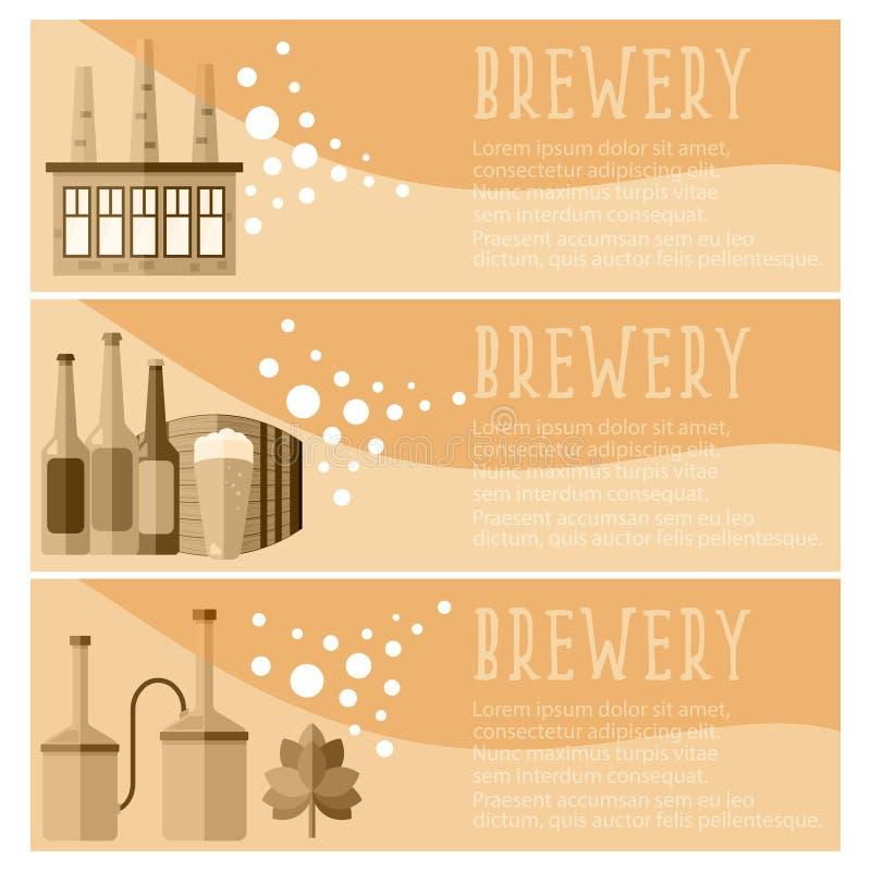 Комплект знамени для винзавода индустрии винзавода возражает вектор бесплатная иллюстрация
