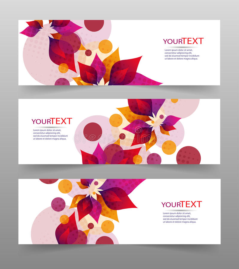Комплект 3 знамен, абстрактных заголовков, с красочными флористическими элементами и местом для вашего текста иллюстрация вектора