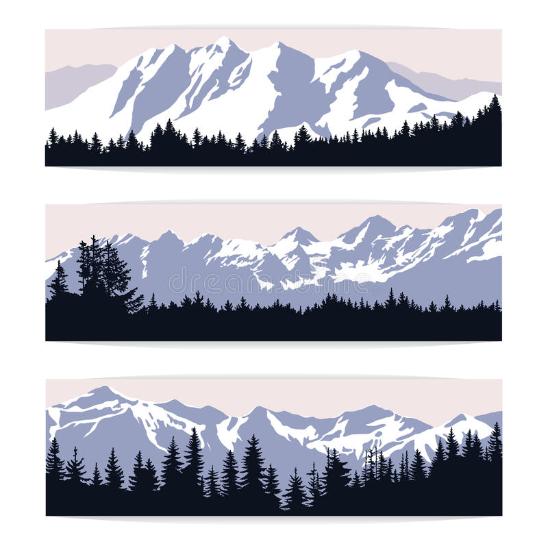 Комплект 3 знамен ландшафта с силуэтами гор и стоковые фото