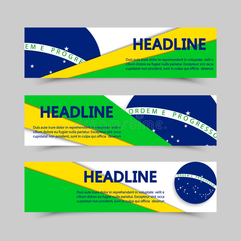 Комплект знамен в концепции флага Бразилии иллюстрация вектора