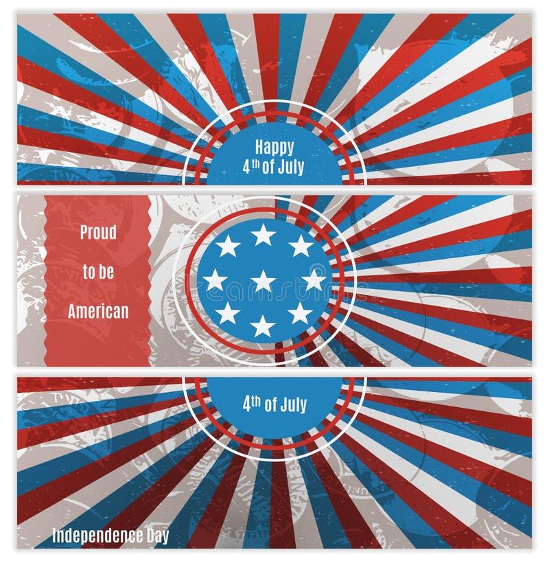 Комплект 3 знамен в цветах национального флага США иллюстрация штока