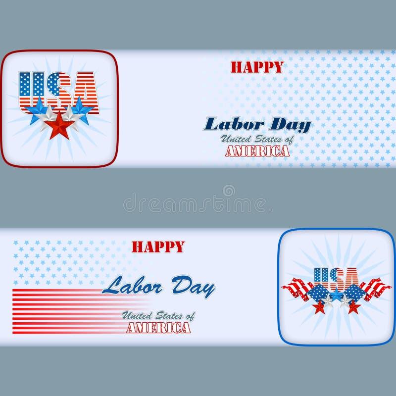 Комплект знамен конструирует с звездами и флагами на американский День Трудаа бесплатная иллюстрация