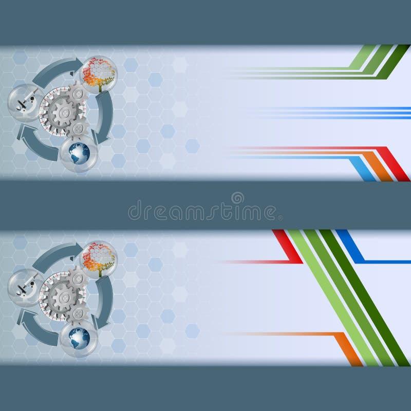 Комплект знамен конструирует шаблон для окружающей среды/науки иллюстрация вектора