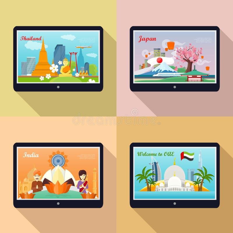 Комплект знамен рекламы Путешествовать к Азии иллюстрация вектора