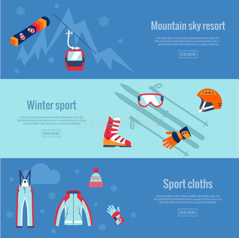 Комплект знамен спорта зимы иллюстрация вектора