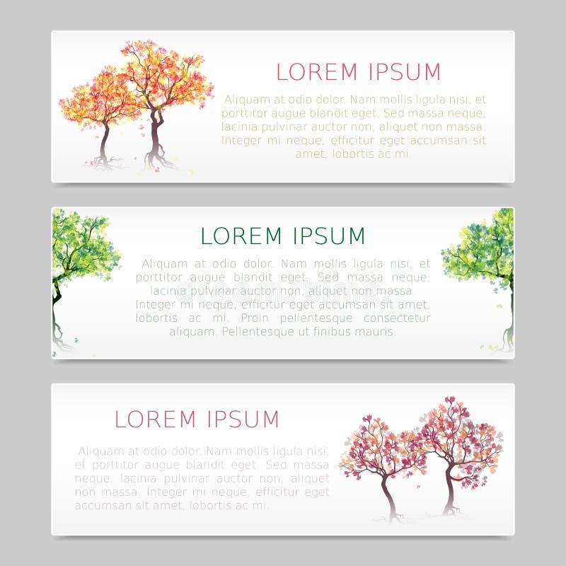 Комплект 3 знамен с абстрактными деревьями бесплатная иллюстрация