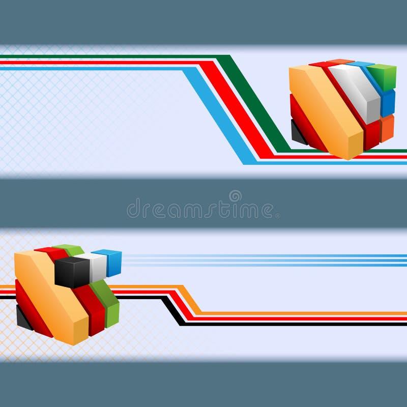 Комплект знамен с красочными кубами, геометрические формы иллюстрация штока