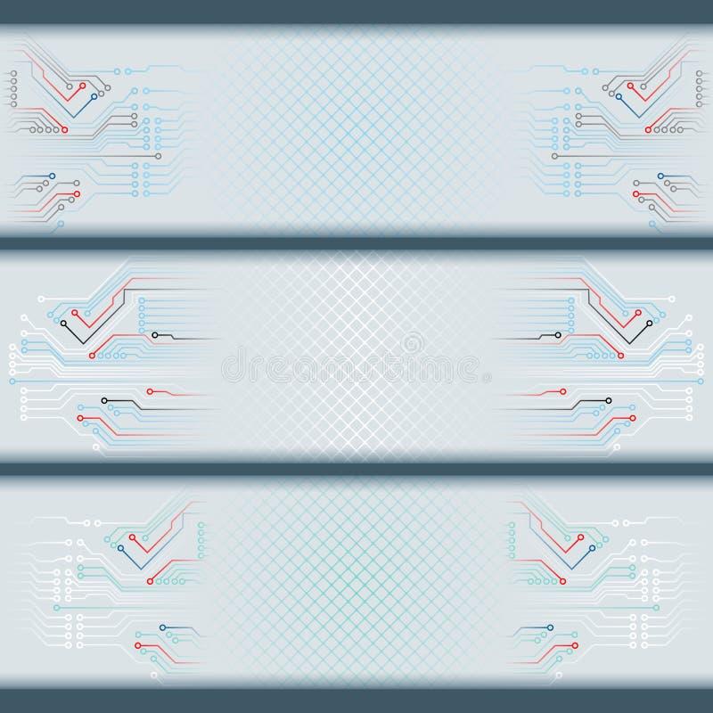 Комплект знамен с радиотехническими схемами и космоса для текста иллюстрация штока