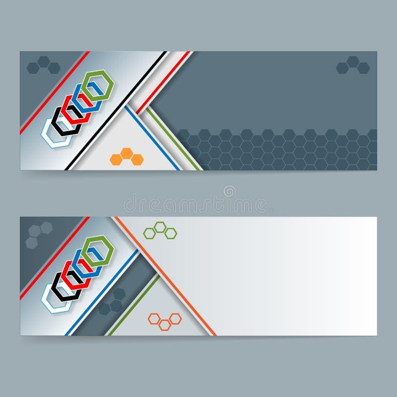 Комплект знамен с шестиугольниками и космоса для текста иллюстрация штока