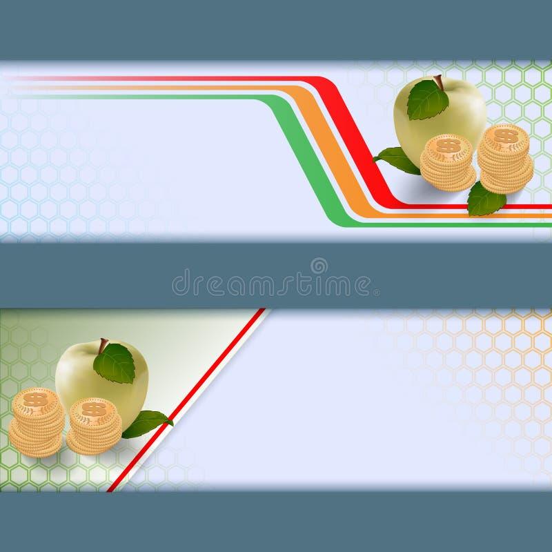 Комплект знамен с яблоками, крен денег на геометрическом дизайне иллюстрация вектора