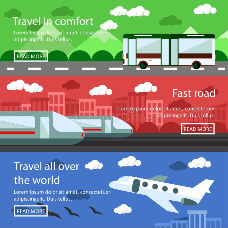 Комплект знамен транспорта в плоском дизайне Вектор снабжения и концепции поставки Шина, поезд, воздушный транспорт бесплатная иллюстрация