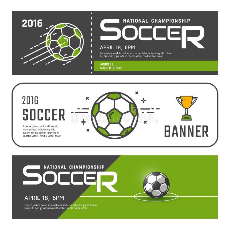 Комплект знамен футбола иллюстрация вектора