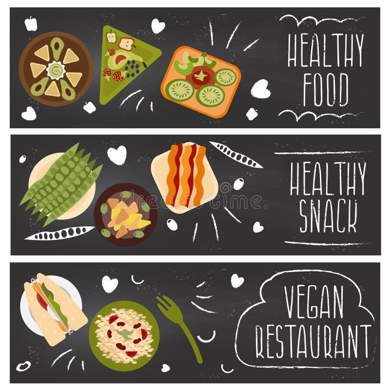 Комплект знамен для еды темы, еды вегетарианцев Вектор i иллюстрация штока