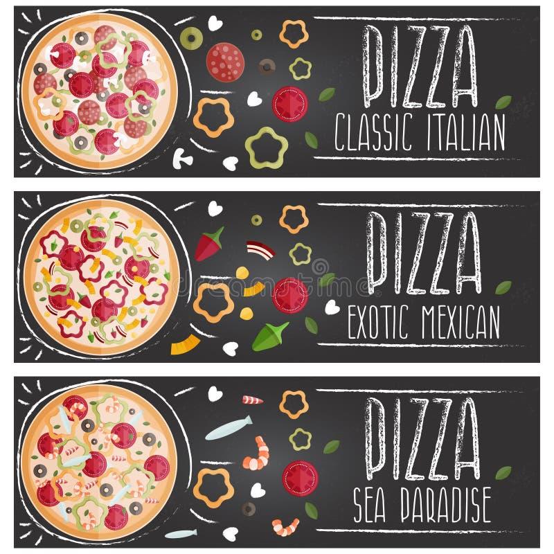 Комплект знамен для дизайна различных вкусов пиццы темы плоского иллюстрация штока
