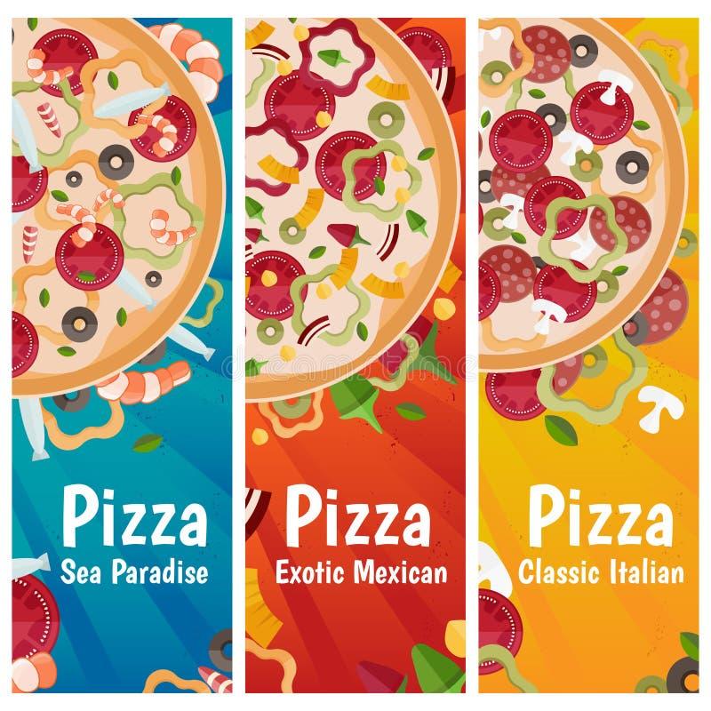 Комплект знамен для дизайна различных вкусов пиццы темы плоского бесплатная иллюстрация