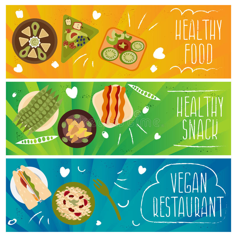 Комплект знамен для темы здоровой, еды вегетарианцев Вектор i бесплатная иллюстрация