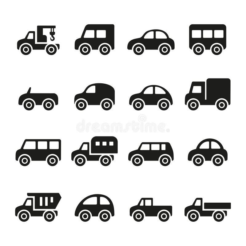 Комплект значка автомобилей иллюстрация вектора