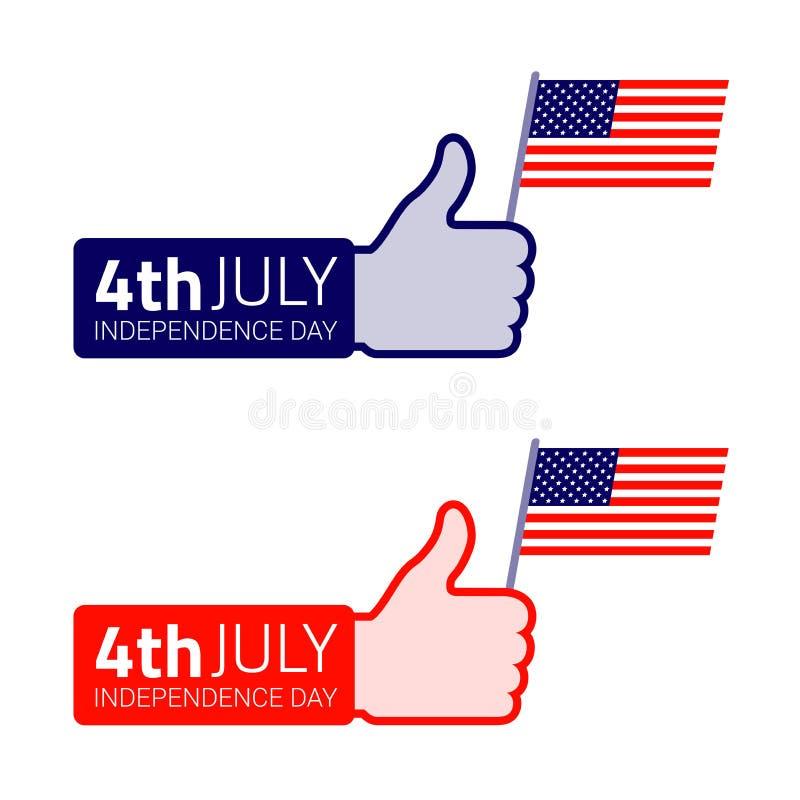 Download Комплект значка американского флага владением большого пальца руки поднимающего вверх Иллюстрация вектора - иллюстрации насчитывающей цветы, творческо: 41656571
